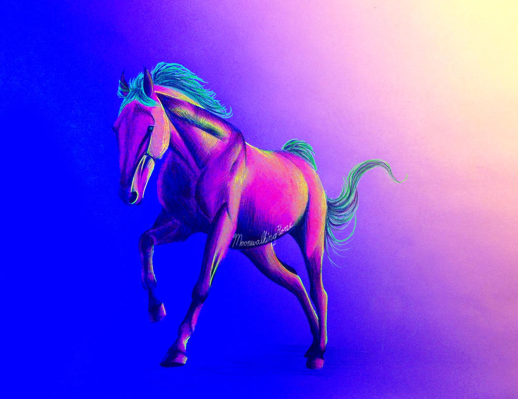 Blacklight Neon Horse by MoonwalkingHorse on DeviantArt