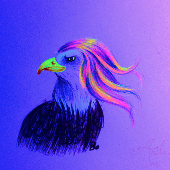 Daily Doodle #86: Not-Bald Eagle by MoonwalkingHorse