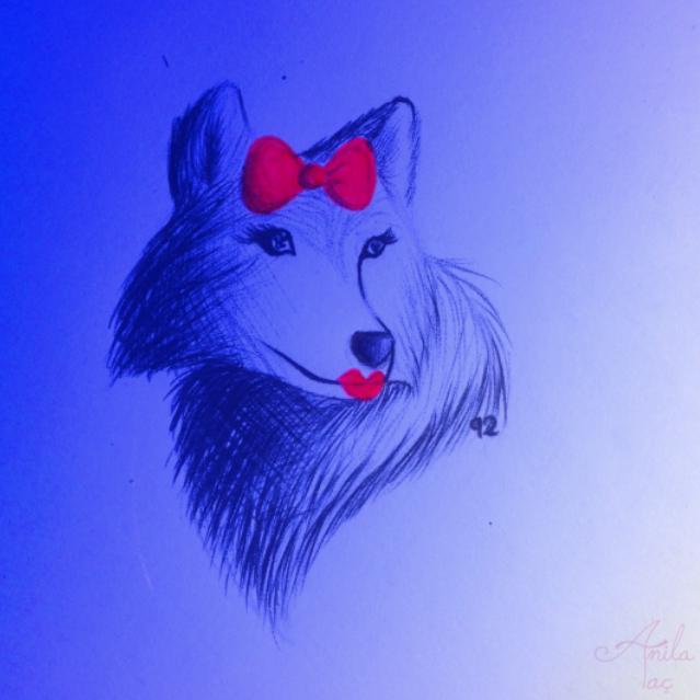 Daily Doodle #92: Ms. Wuf by MoonwalkingHorse