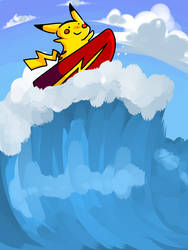 Surfing Pikachu by Helen-likes-pie