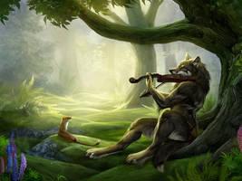 Fantasy She-wolf playing a violin