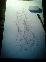My First Pony Sketch + Deviantation~ by krisandchips