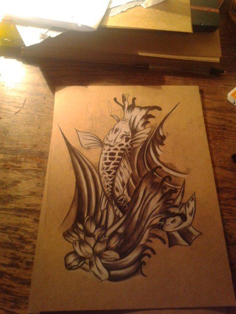 Black and white koi carp drawing by krisandchips on for Black and white koi fish for sale