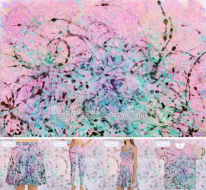 Abstract 'Pink and Ink' Painting + Clothing