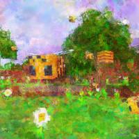 Minecraft Bee Impressionist Painting