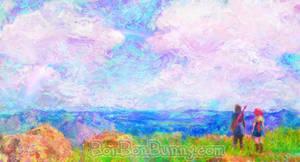 Dragon Quest XI Intro Vista Impressionist Painting