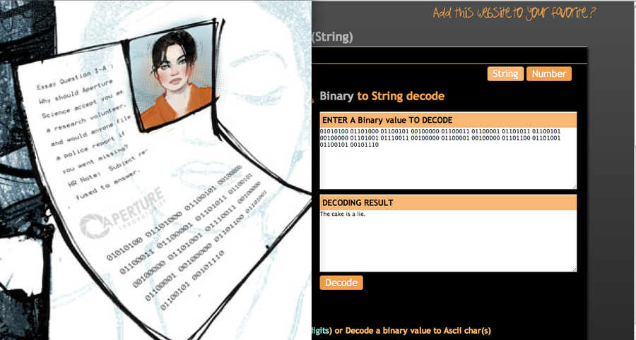 It is writing in Chell's files by Mad-Mad-Muffin