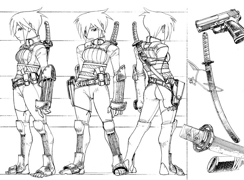 Ninja-ish Lady Turnaround by Inkmo