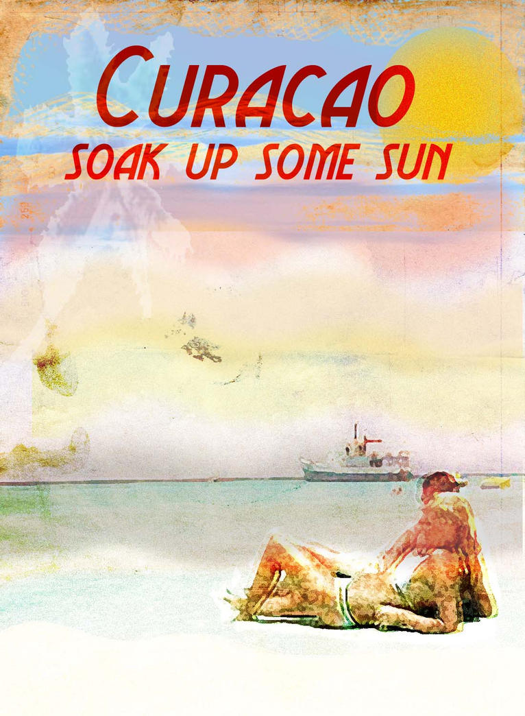 Vintage Curacao Beach Poster by AbstractMentality