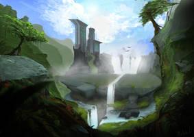Flat rock waterfalls by Maliszauke