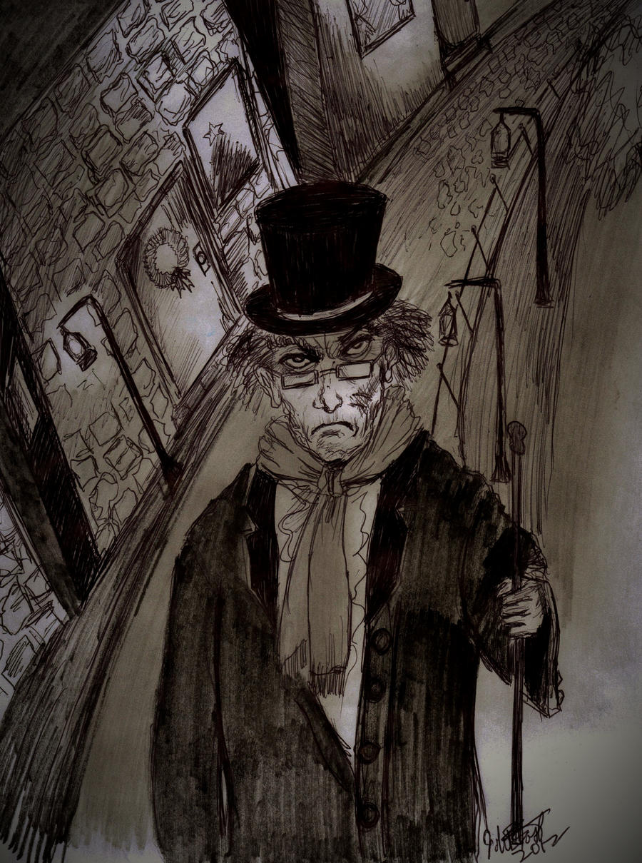 Ebeneezer Scrooge Streets of London by johnfboslet2001