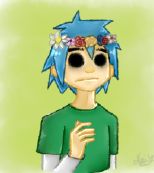 2-D and the flowers crown! by TattyDraw