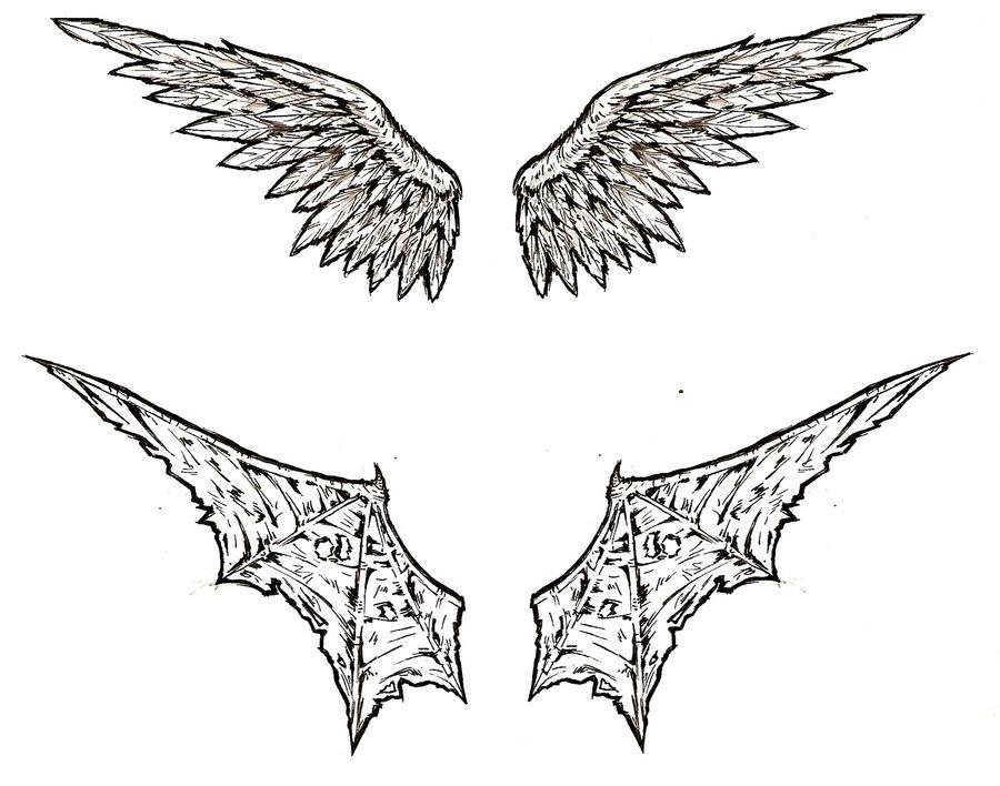 angel demon wings tattoo by shinjistrikes on deviantart. Black Bedroom Furniture Sets. Home Design Ideas