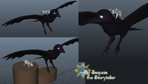 3d Crow with Mouse