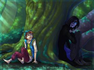 Jannie, Masky, and a Big ol' Tree