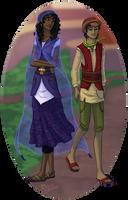 Jerra and Renny walking (WiP)