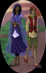 Jerra and Renny walking (WiP) by SekoiyaStoryteller