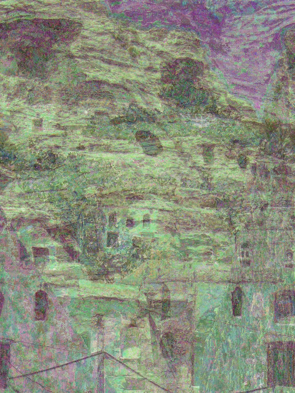 Rock dwellings above Shibam