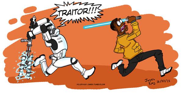 Star Wars- TR-8R vs Finn by killer-kay-james