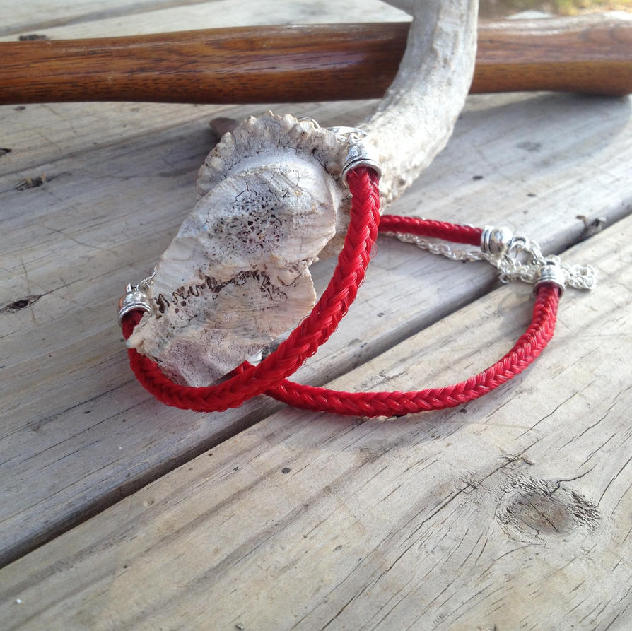Braided Horsehair Bracelet and Necklace Set - Red by TarpanBeadworks