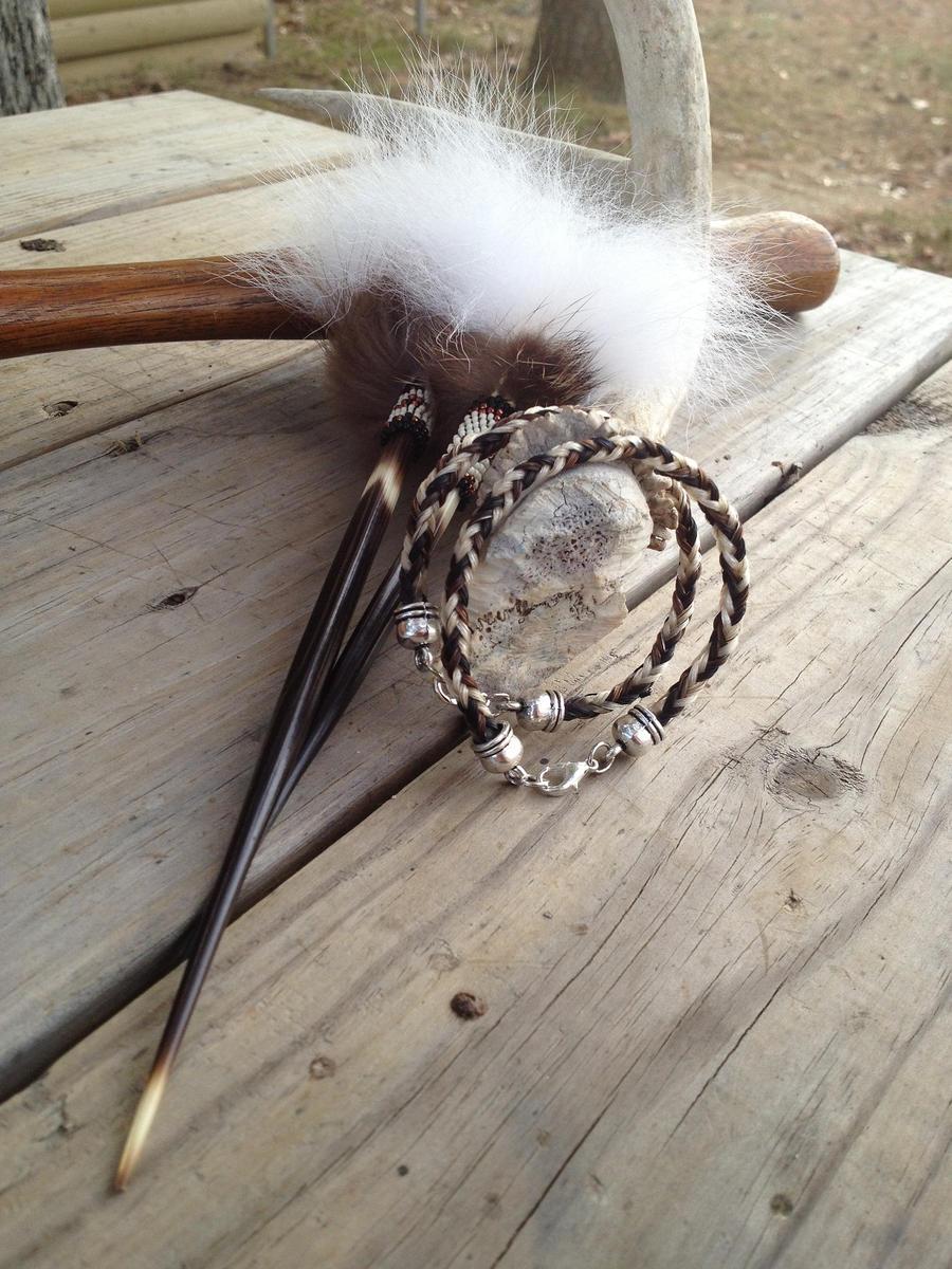 Braided Horsehair Bracelet/Hairstick Set - Custom by TarpanBeadworks