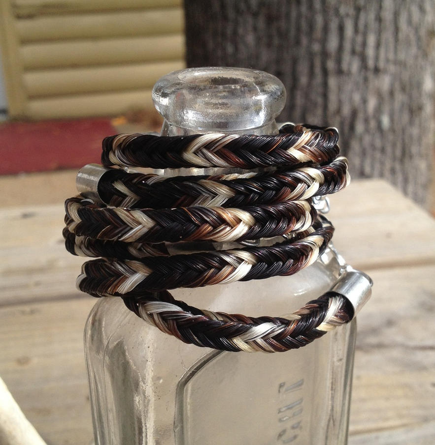 Braided Horsehair Bracelet Group - 42 Tails Custom by TarpanBeadworks