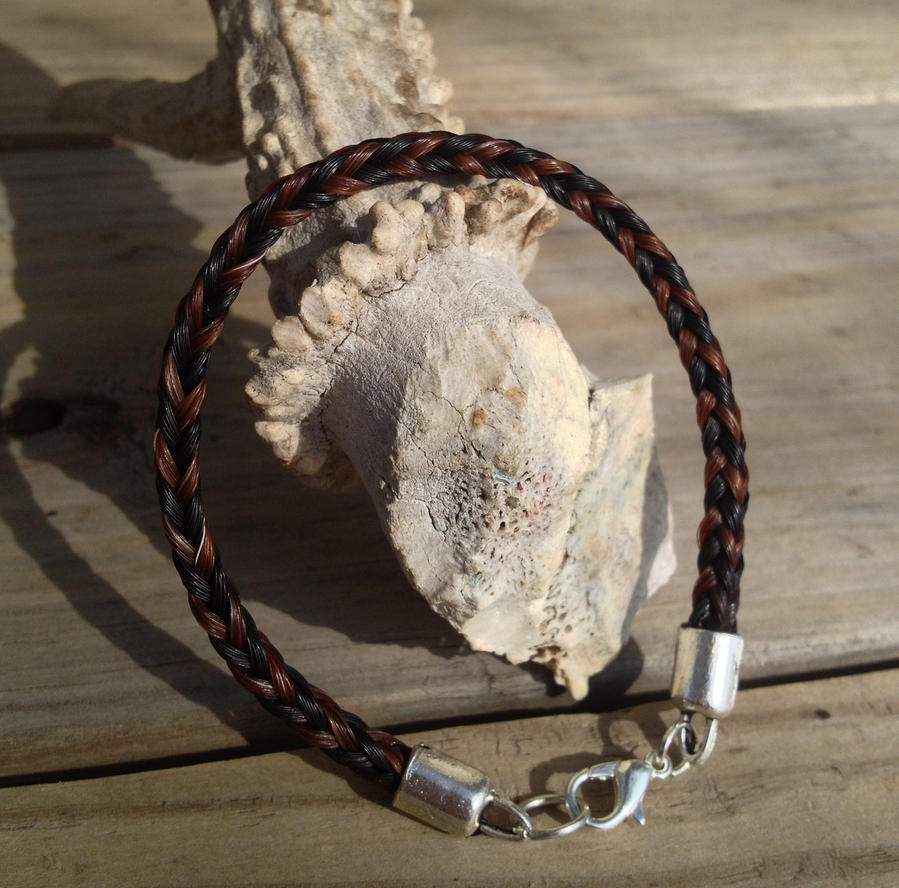 Braided Horsehair Bracelet - Sorrel/Black Custom by TarpanBeadworks