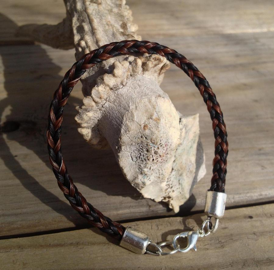 Braided Horsehair Bracelet - Sorrel/Black Custom by TarpanBeadworks