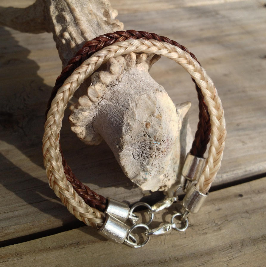 Braided Horsehair Bracelet - Custom Pair by TarpanBeadworks