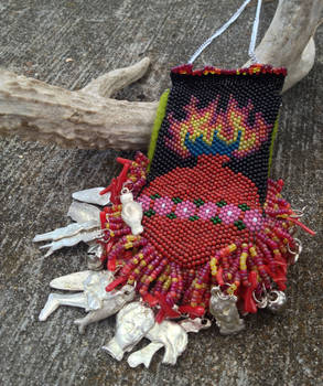Sacred Heart Amulet Bag Necklace With Milagros