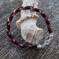 Braided Horsehair Bracelet - Red/Black/Gray