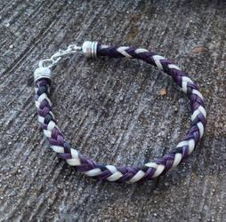 Braided Horsehair Bracelet - Purple/Black/White