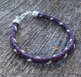 Braided Horsehair Bracelet - Purple/White