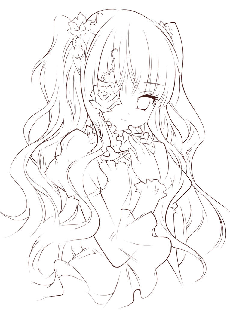 Line Art Anime : Hermosa locura lineart by painter one on deviantart