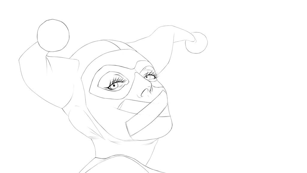 HarleyQuinn LineArt by Painter-One