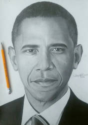 Drawing of Barrack Obama by cdudley25