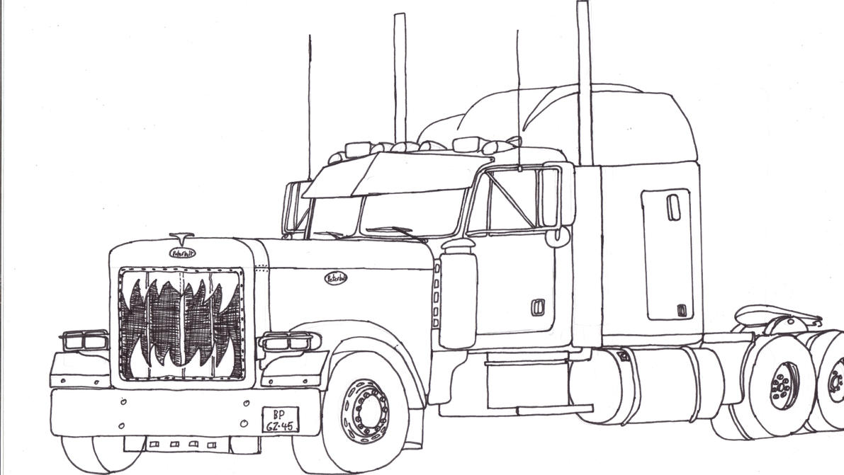 How To Draw Peterbilt 379 Peterbilt Coloring Pages