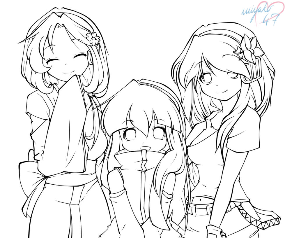 Anime Best Friend Girl Coloring Page