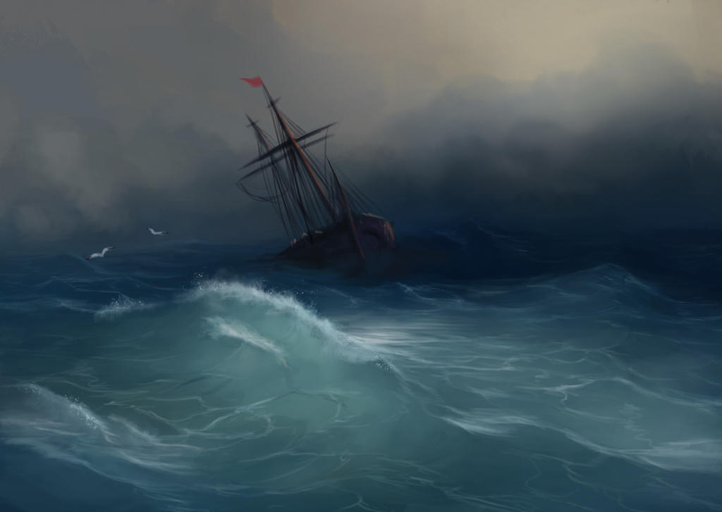 Old Ship in Rough Seas by msyx on DeviantArt