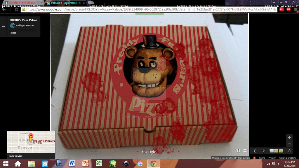 Freddy fazbear pizza box screenshot google maps im by duskstripe87 on