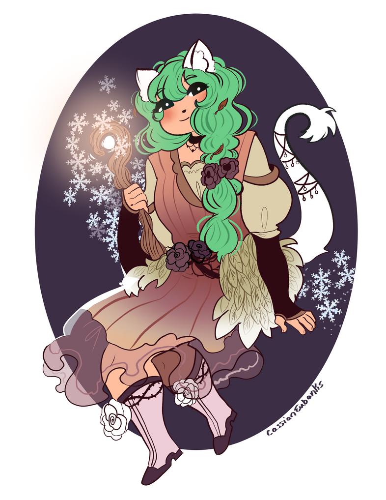 Custom Adopt: Snow fox druid for Oscorix! by Caz-Nia1994
