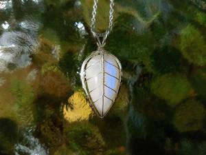 Moonstone leaf pendant.