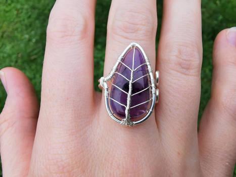 An amethyst leaf ring.