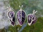 Amethyst pendants.