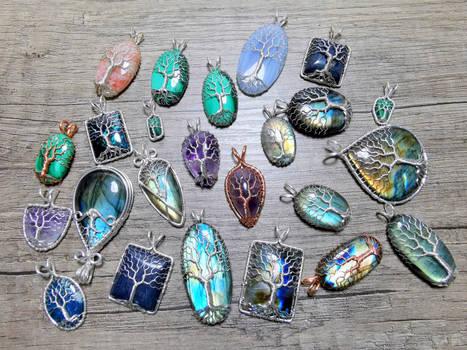 Gemstone pendants.
