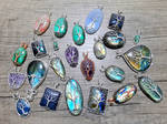 Gemstone pendants.