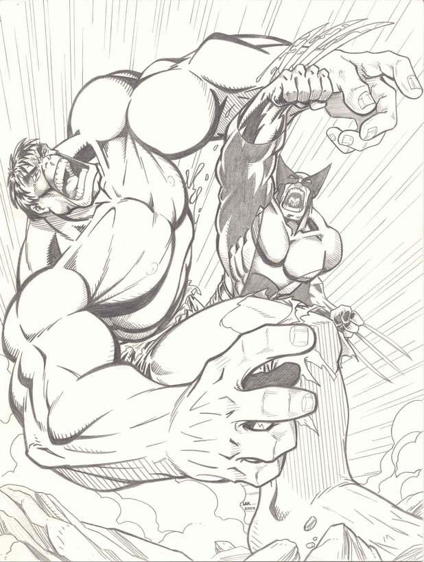 Hulk vs Wolverine again by LakLim