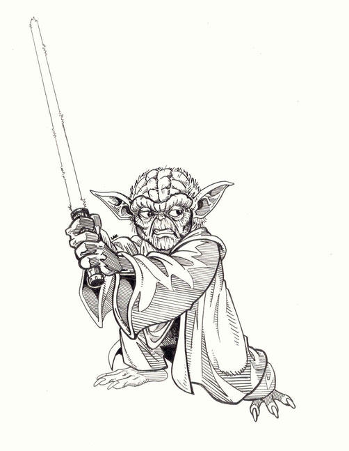 Line Art Yoda : Yoda line drawing