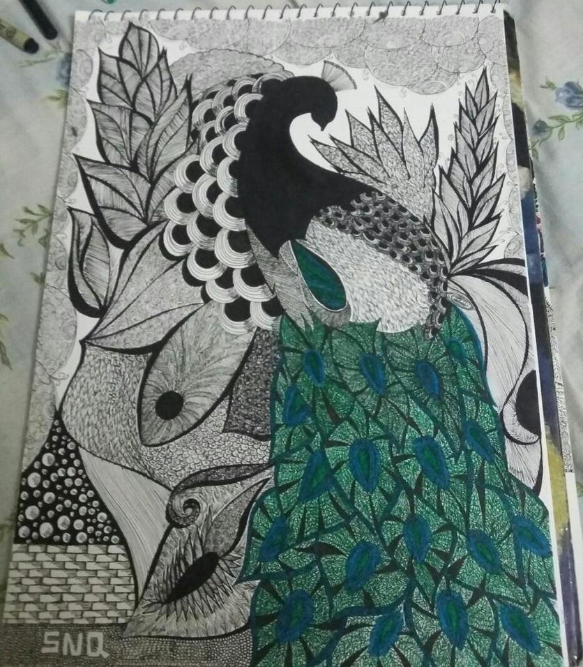 Peacock zentangle by Fallen-sniper666