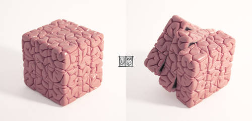 Rubiks Cube Brain Sculpt by freeny